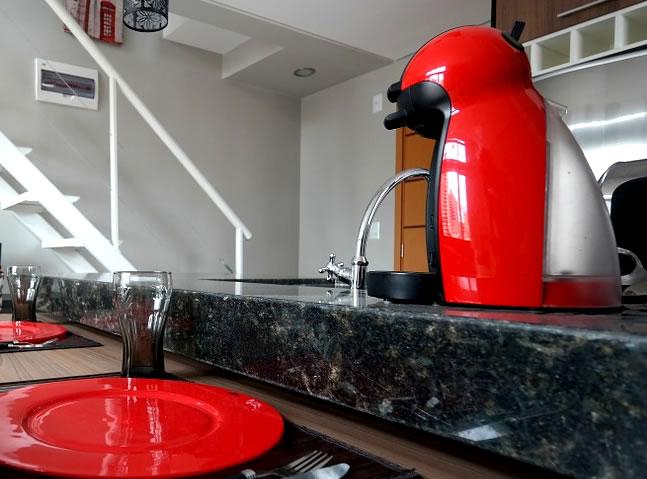 Cocina con una cafetera
