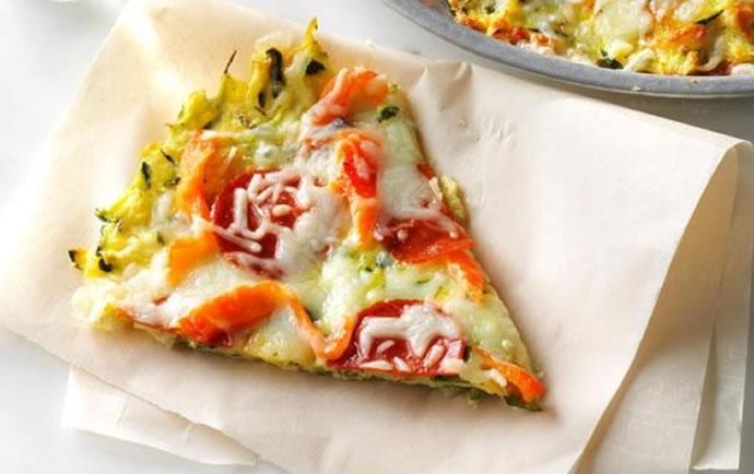 Receta para bajar de peso : Pizza light de calabacín